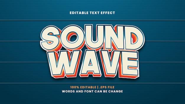 Efeito de texto editável de onda sonora em estilo 3d moderno