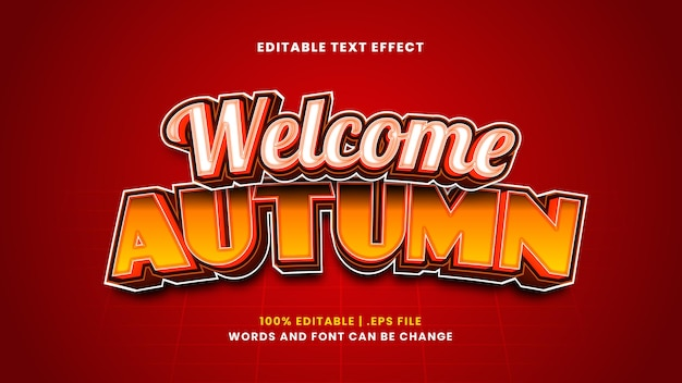 Efeito de texto editável de outono bem-vindo em estilo 3d moderno