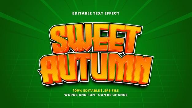 Efeito de texto editável de outono doce em estilo 3d moderno