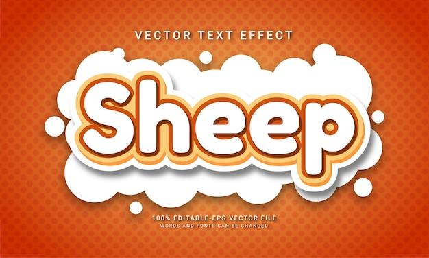 Efeito de texto editável de ovelha com tema animal