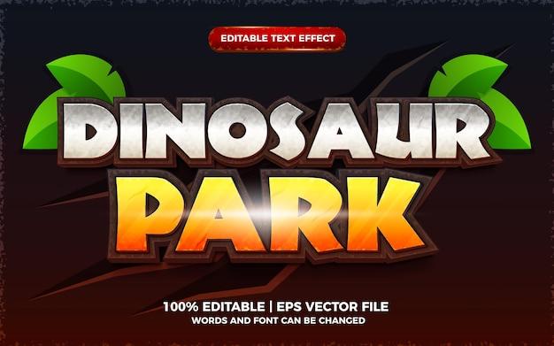 Efeito de texto editável de parque de dinossauros estilo de modelo de jogo de desenho animado em 3d