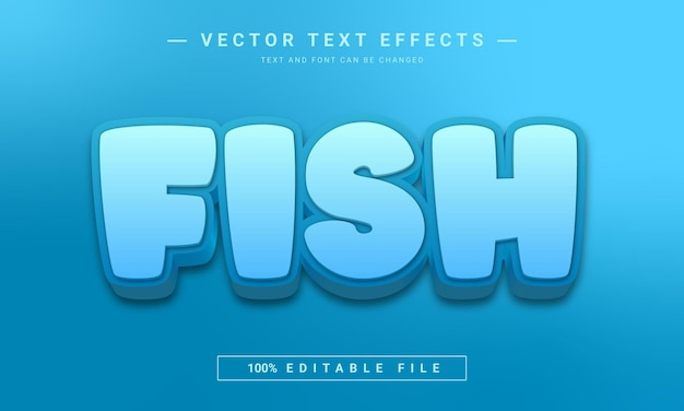 Efeito de texto editável de peixe