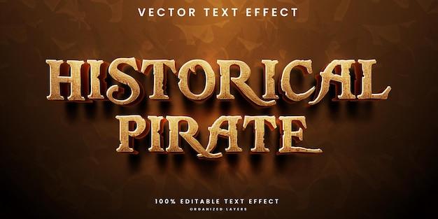 Efeito de texto editável de pirata histórico