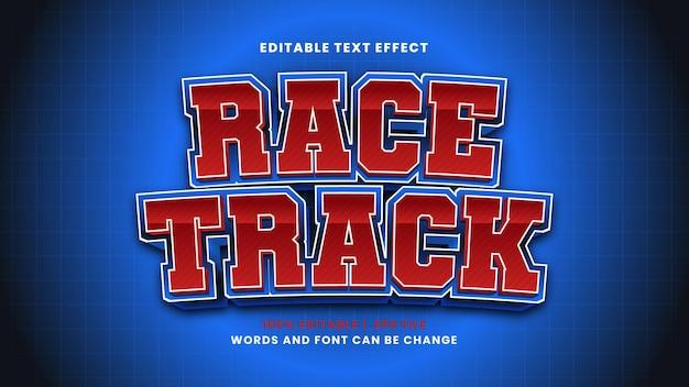 Efeito de texto editável de pista de corrida em estilo 3d moderno