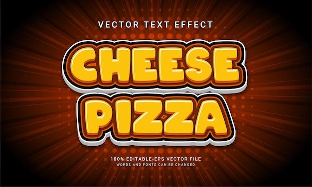 Efeito de texto editável de pizza de queijo com tema de menu de pizza