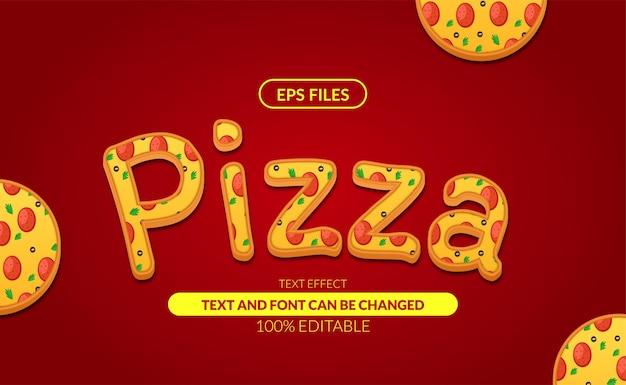 Efeito de texto editável de pizza italiana