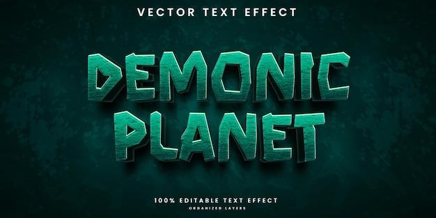 Efeito de texto editável de planeta demoníaco