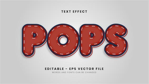 Efeito de texto editável de pops vermelhos modernos