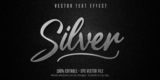Efeito de texto editável de prata metálica