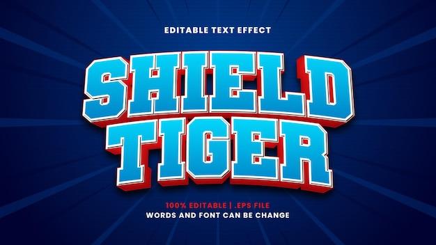 Efeito de texto editável de proteção do tigre em estilo 3d moderno