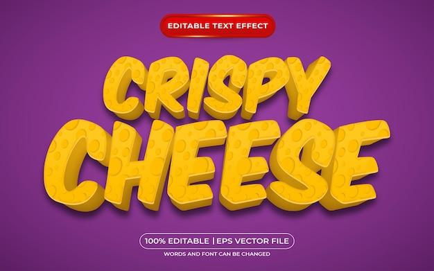 Efeito de texto editável de queijo crocante estilo cartoon 3d