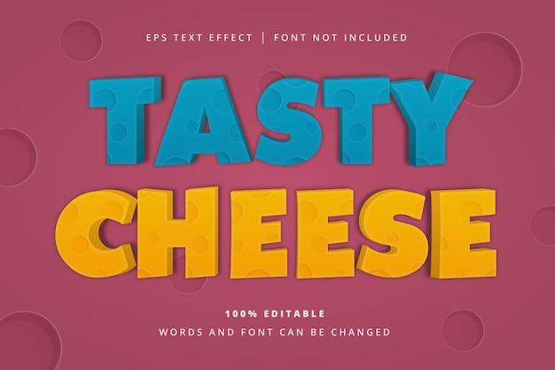 Efeito de texto editável de queijo saboroso