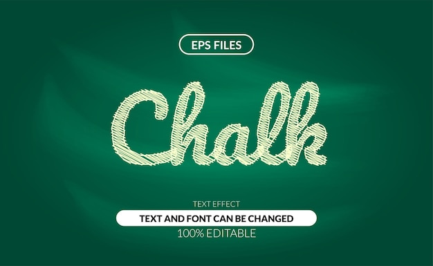 Efeito de texto editável de rabisco de giz no quadro verde.