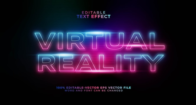 Efeito de texto editável de realidade virtual