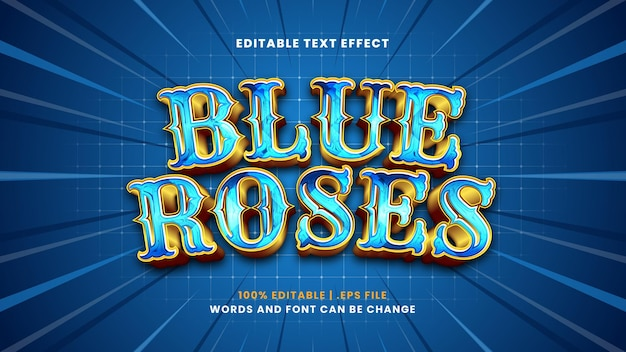 Efeito de texto editável de rosas azuis em estilo 3d moderno