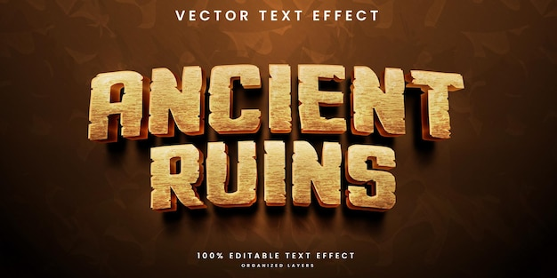 Efeito de texto editável de ruínas antigas