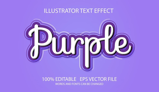 Efeito de texto editável de script roxo