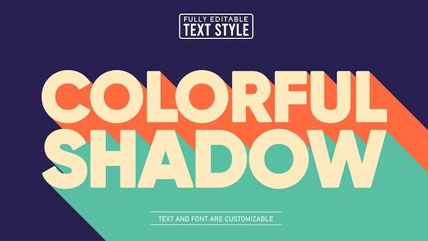Efeito de texto editável de sombra longa retro colorido