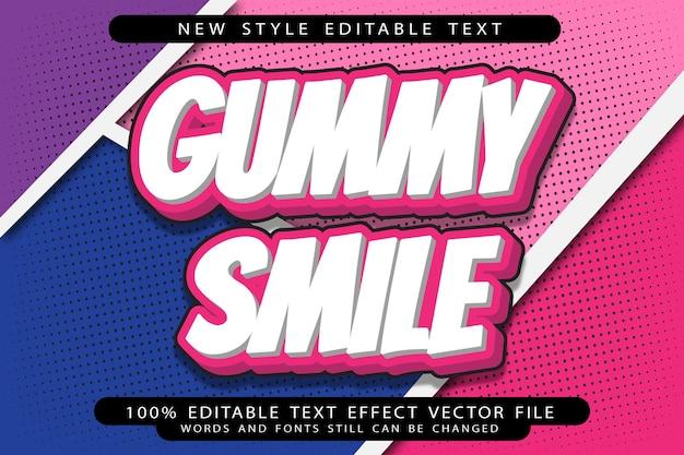 Efeito de texto editável de sorriso de goma em relevo estilo desenho animado