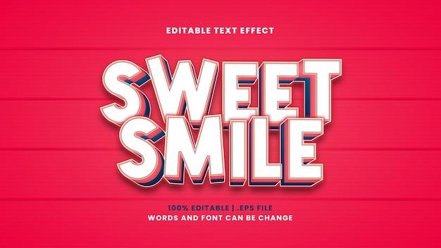 Efeito de texto editável de sorriso doce em estilo 3d moderno