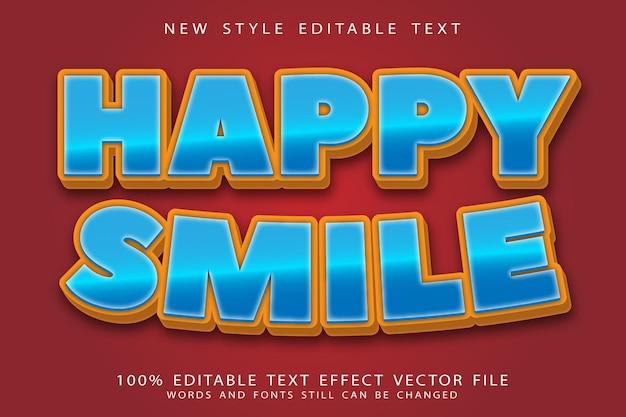 Efeito de texto editável de sorriso feliz em relevo estilo cômico