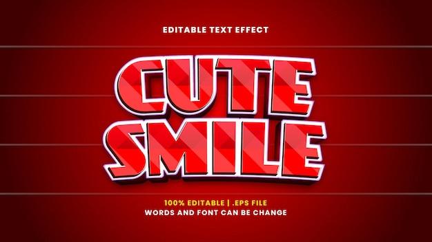 Efeito de texto editável de sorriso fofo em estilo 3d moderno