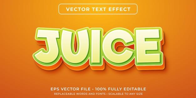 Efeito de texto editável de suco de fruta