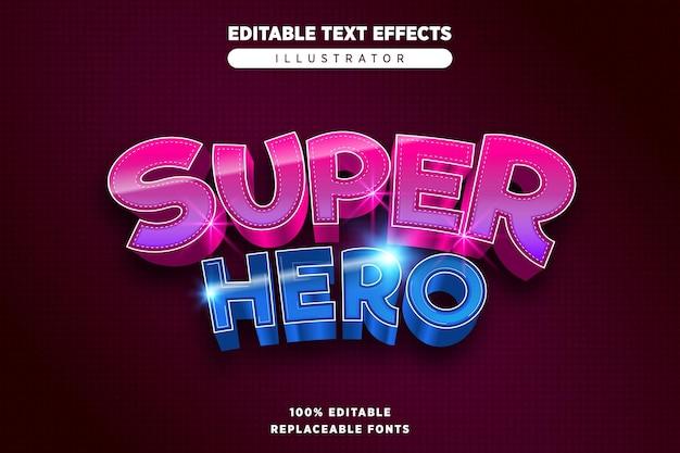 Efeito de texto editável de super-herói