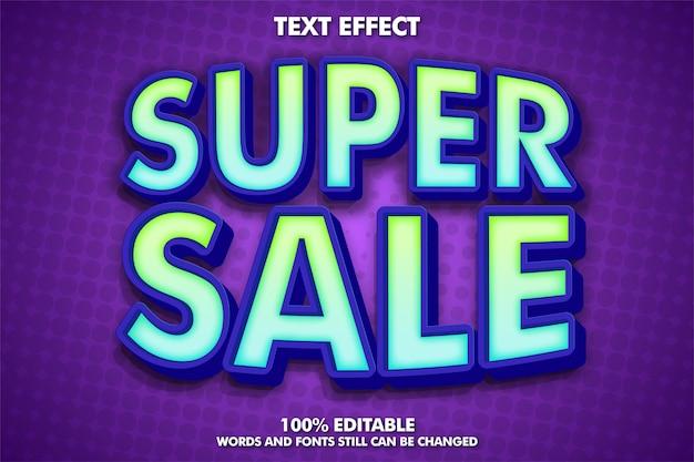 Efeito de texto editável de super venda banner de super venda