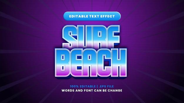 Efeito de texto editável de surd beach em estilo 3d moderno