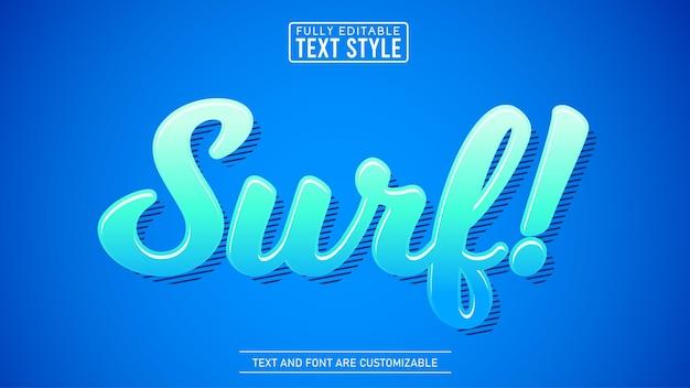 Efeito de texto editável de tema de surf na moda