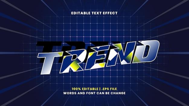 Efeito de texto editável de tendência em estilo 3d moderno