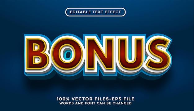 Efeito de texto editável de texto bônus com vetores premium de estilo dourado