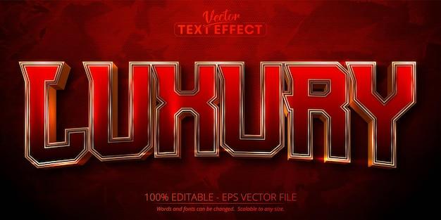 Efeito de texto editável de texto de luxo em ouro brilhante em fundo texturizado vermelho escuro