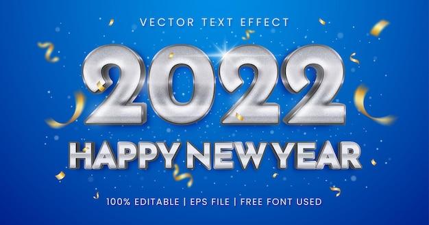 Efeito de texto editável de texto prata metálico feliz ano novo