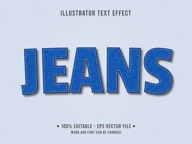 Efeito de texto editável de textura de jeans