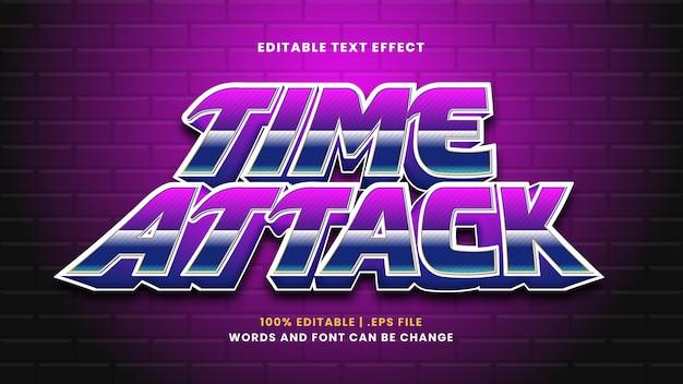Efeito de texto editável de time attack em estilo 3d moderno