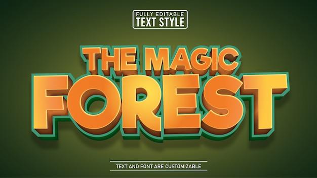 Efeito de texto editável de título de jogo e filme de floresta mágica