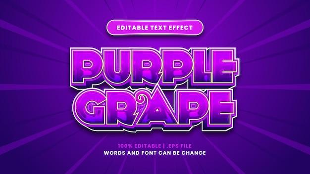 Efeito de texto editável de uva roxa em estilo 3d moderno