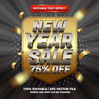 Efeito de texto editável de venda 3d prata ouro moderno de ano novo