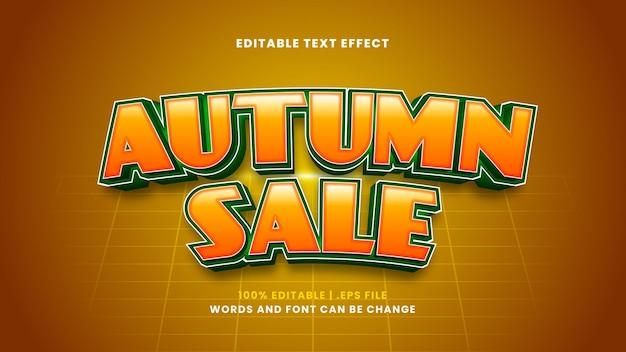Efeito de texto editável de venda de outono em estilo 3d moderno