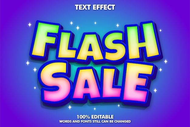 Efeito de texto editável de venda em flash adesivo de venda em flash