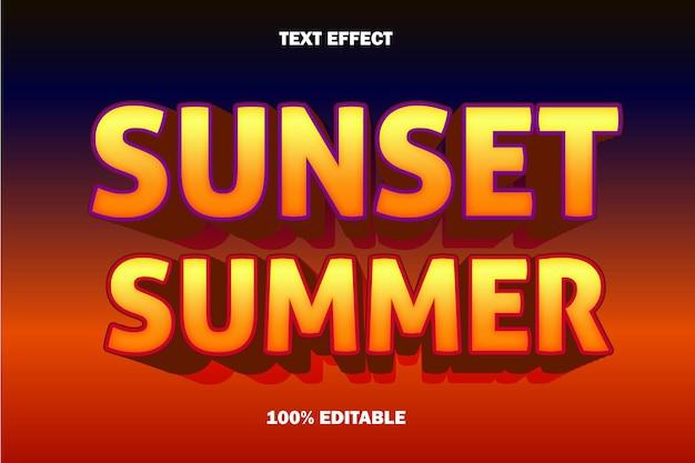 Efeito de texto editável de verão do pôr do sol