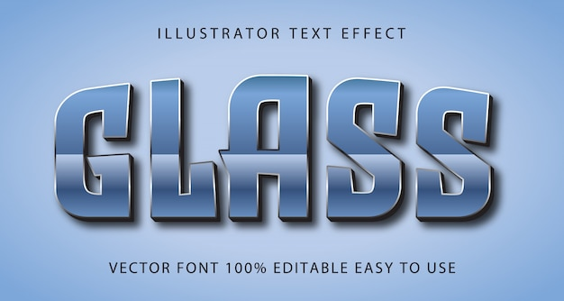 Efeito de texto editável de vetor de vidro