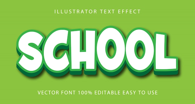 Efeito de texto editável de vetor escolar