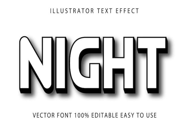 Efeito de texto editável de vetor noturno