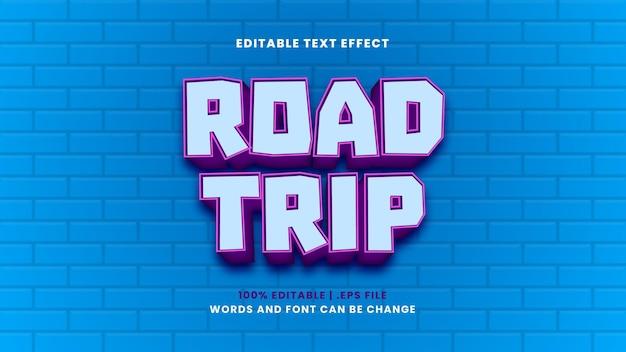 Efeito de texto editável de viagem em um estilo 3d moderno