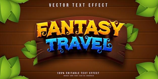 Efeito de texto editável de viagem fantasia