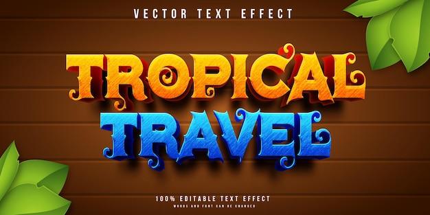 Efeito de texto editável de viagens tropicais