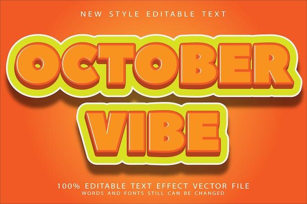Efeito de texto editável de vibração de outubro em relevo estilo moderno